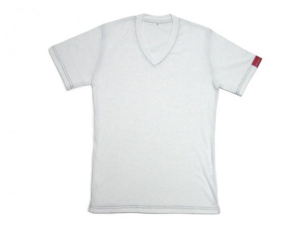 V首半袖Tシャツ白(藍ステッチ)