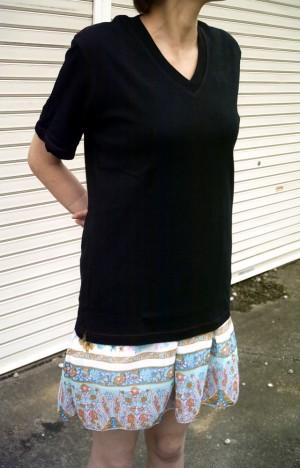 V首半袖Tシャツ(ブラック)