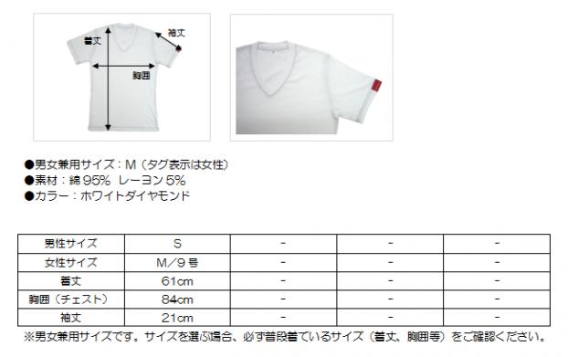 V首半袖Tシャツ藍ステッチ サイズ表