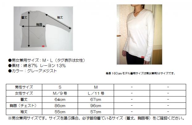 V首長袖Tシャツ藍ステッチ サイズ表