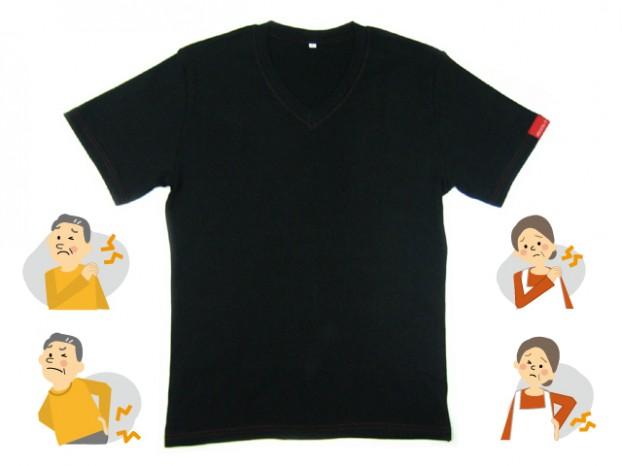 V首半袖Tシャツ ブラックトルマリン